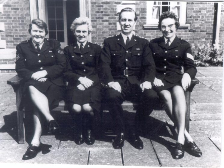 Directing staff of Regional Policewomens  Training Course - 1972/3 at Oxstalls College campus. Left to right: Woman Police Sergeant Blowen; Woman Chief Inspector E.B. Hughes; Chief Inspector R. A. (Bob) Parker and Woman Police Sergeant unknown Devon & Cornwall. (Gloucestershire Police Archives URN 256)