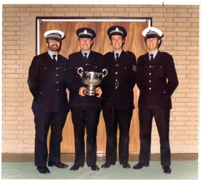 South West Police First Aid competition winners December 1979. Left to right Police Constable Peter James;  Police Constable  John Williams; Police Sergeant Neil Christopher;  Police Constable  Peter Hayward. (Gloucestershire Police Archives URN 273)