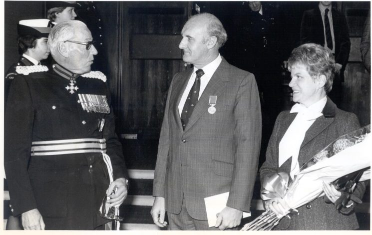 Presentation of British Empire Medal to Police Sergeant Clive Jefferies pictured with Lieutenant Colonel  Shakerley Lord Lieutenant of Gloucestershire. and Mrs Jefferies. (Gloucestershire Police Archives URN 290)
