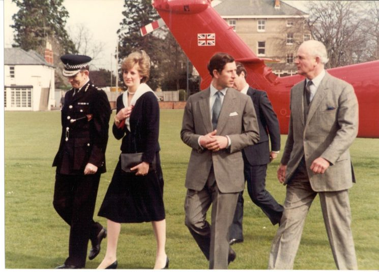 Arrival of Prince of Wales and Lady Diana Spencer at Police headquarters 1981. Left to right Chief Constable Soper; Lady Diana Spencer; . The Prince of Wales; Lord Lieutenant Colonel Gibbs. (Gloucestershire Police Archives URN 293)