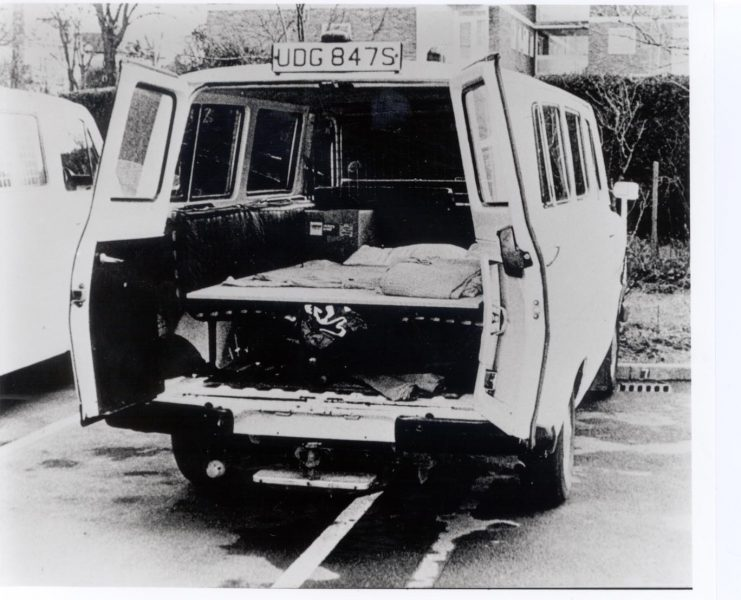 Ambulance strike 1979 Police Ford Transit van adapted for use as an ambulance. (Gloucestershire Police Archives URN 295)