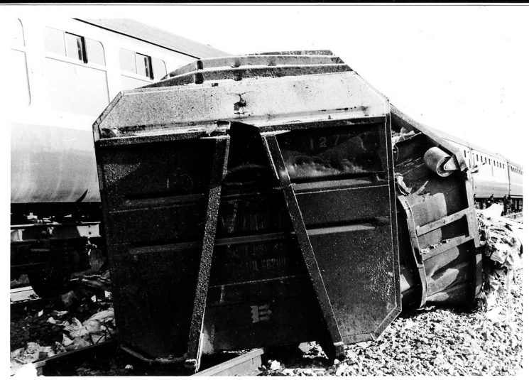 Serious rail crash at  Naas Lane Crossing Lydney three  men killed 1979. Close up of wrecked lorry. (Gloucestershire Police Archives URN 315)