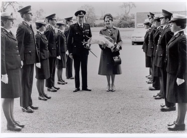 Annual combined Cadet Inspection by Deputy Chief Constable E Coppin and Mrs Coppin before  his retirement  1979. (Gloucestershire Police Archives URN  322)