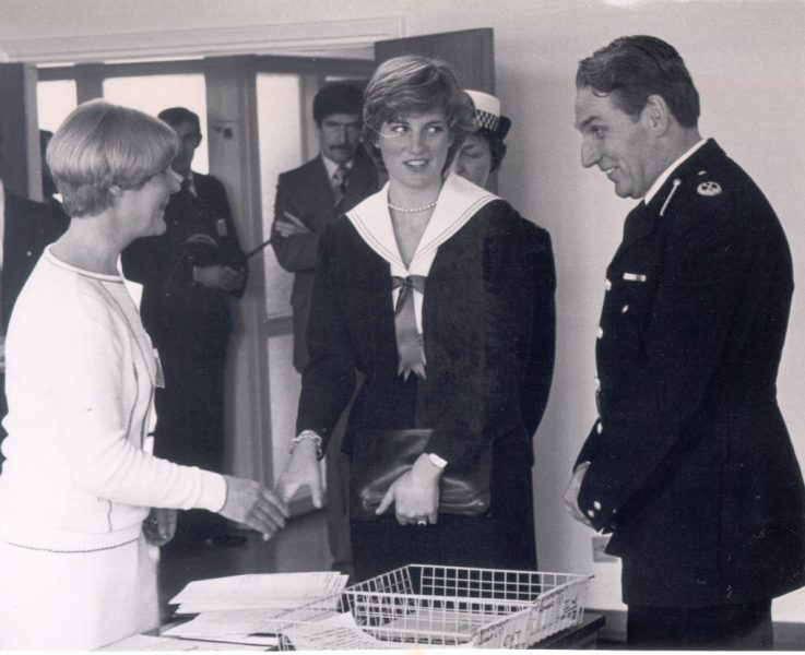 1981 Lady Diana Spencer visiting the major incident room  at Police headquarters in conversation with Assistant Chief Constable L. Whitton and Woman Detective Sergeant M. Hall. (Gloucestershire Police Archives URN 364)