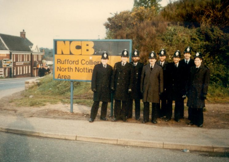 Officers employed during the miners 'strike 1984 at Rudford Colliery, North Notts. Nick Jefferies (Eventually Supterintendent) Sergeant  Pete Haines, Pete Statham, Nigel Pickering, Unknown, Chris Merrick and Derek Freeman. (Gloucestershire Police Archives URN 375)