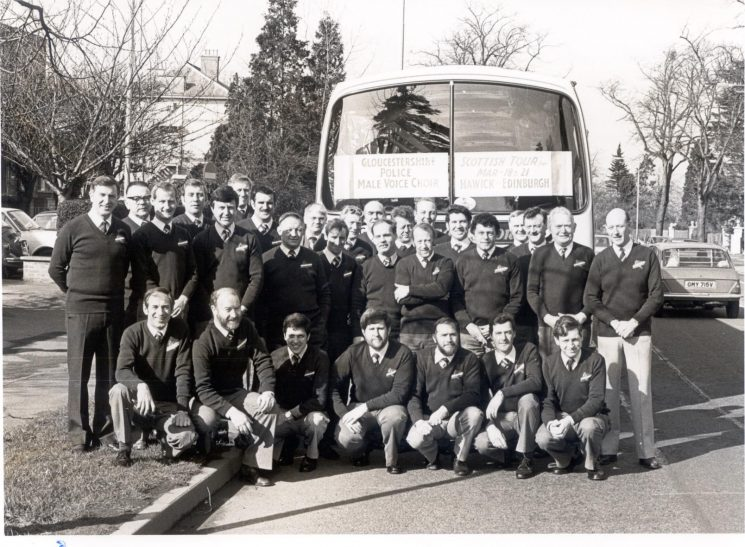 Gloucestershire Police male voice choir leaving for their tour of Scotland 18th March 1982. (Gloucestershire Police Archives URN 386)