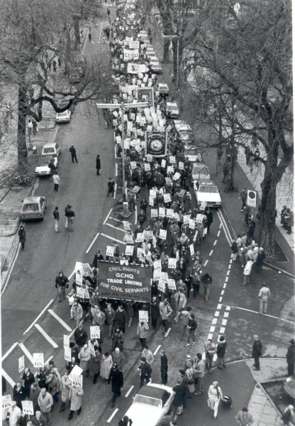 Trades' Union Congress Rally in The Promenade, Cheltenham escorted by Gloucestershire Police. (Gloucestershire Police Archives URN 387)