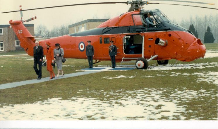Her Royal Highness Princess of Wales arriving at Deer Park School, Cirencester in RAF Helicopter for visit  to Cirencester Police -  escorted by Lord Lieutenant Earl St.Aldwyn. 22.2.1985 (Gloucestershire Police Archives URN 394)