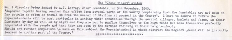 Circular Order No. 1.issued by Chief Constable Lefroy 5.12.1840  refers to the Check Ticket system of visiting outlying parts of district. (Gloucestershire Police Archives URN 4)