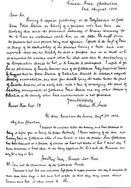 Handwritten August 1902 re cleanliness of prisoners on remand at Littledean.Letter from solicitor Arthur Smith to Russell Kerr with note from Kerr to Chief Constable Christian and his reply. (Gloucestershire Police Archives URN 41-1)
