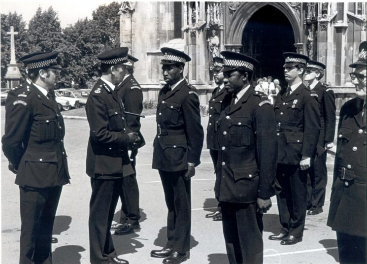 Chief Constable L. Soper inspects B Division (Gloucester Special Constabulary and Volunteer Cadets at their parade at Gloucester Cathedral. (Gloucestershire Police Archives URN 410)