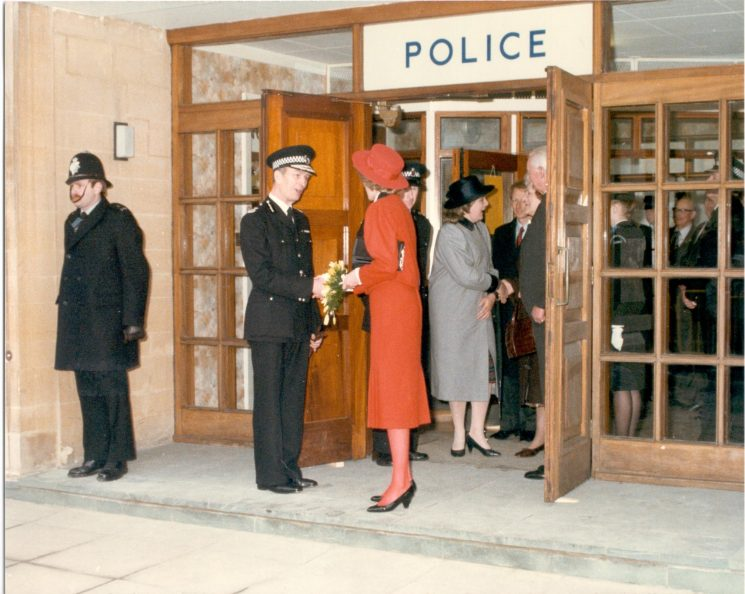 Princess of Wales leaving Cirencester Police Station with Chief Constable Soper. 1985 (Gloucestershire Police Archives URN 414)