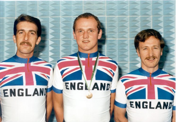 Part of Gloucestershire Constabulary cycling section who represented England in the sport in 1985. Left to right: Police Constables S. Jones; N. Yarworth; R. Llewellyn. (Gloucestershire Police Archives URN 431)
