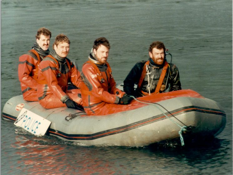 Underwater section 1985. Left to Right:  Police Constables Martin Skinner David Stalker Nigel Pickering and Gerry Herniman. (Gloucestershire Police Archives URN 454)