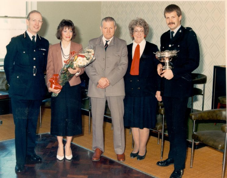 Award of Caroline Symes Memorial Bowl to Police Constable John Wiffen 1987. (Gloucestershire Police Archives URN 455)
