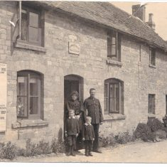 Withington Police Station (closed  8th June 1916) with Police Constable Stafford and family outside. Thought to be 1906. (Gloucestershire Police Archives URN 51)