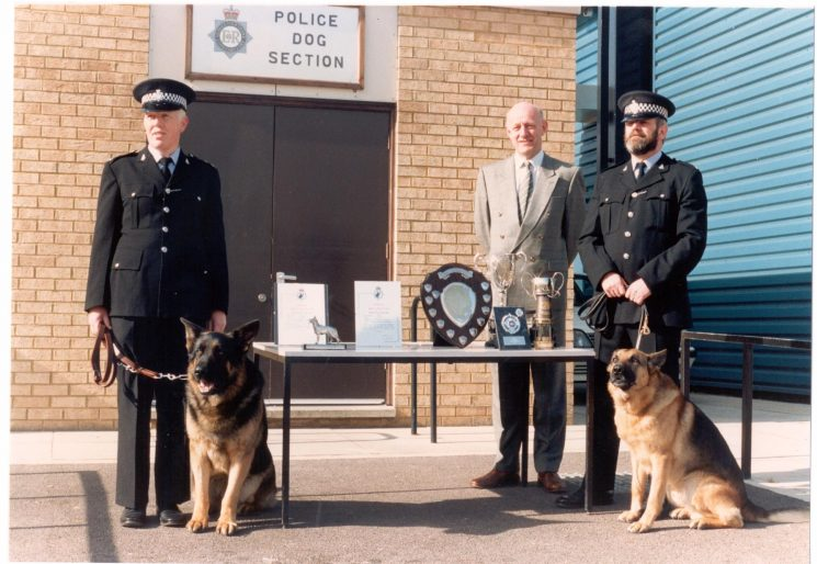 Region Dog trials March 1990 Carmarthen,Chief Constable Pacey with overall winner Police Constable Haines and Jake, Best young dog Beau & Police Constable