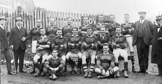 Cheltenham Police Rugby team in benefit match for the unemployed, 1923   - shows Police Constable F.F. Taylor in back row sixth from left. (Gloucestershire Police Archives URN 566)