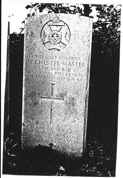 War grave of Major Chester-Master. May 1910  Major Chester-Master was appointed as Chief Constable, he was recalled to the colours 5th January 1915 killed in action 30th August 1917. (Gloucestershire Police Archives URN 57-3)