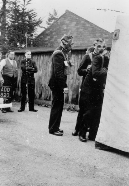Officers undergoing gas training at Headquarters, Holland House  far left in civilian clothes - gardener/handyman Ernest Williams. (Gloucestershire Police Archives URN 577)