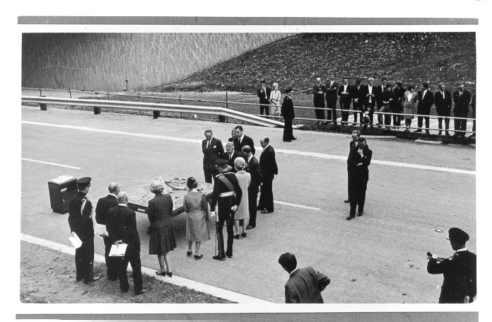 Her Majesty the Queen opening the Severn Bridge and inspecting a model of the Almondsbury Motorway interchange. 8th September 1966 (Gloucestershire Police Archives URN 580)
