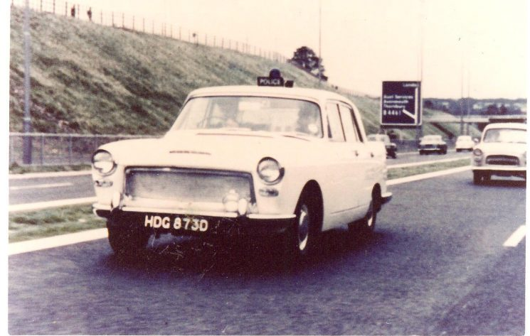 First white patrol car operating from Almondsbury motorway station Registration Number HDG 873 D. (Gloucestershire Police Archives URN 587)
