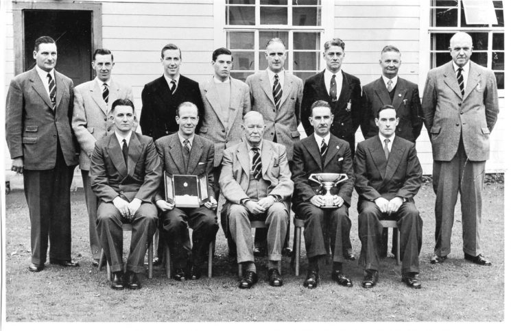 Gloucestershire Constabulary Shooting Team  with awards 1950. Back row left to right : Police Constable Bernard Sanders, Police Sergeant  Eric Markham, Police Constables Geoffrey Evans,  Phillip Marsh,  Cuthbert