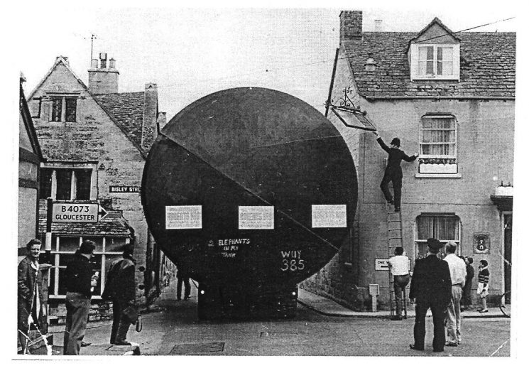 Abnormal load travelling through Painswick 1965. Police Constables Dave Long and Peter Sharpe. (Gloucestershire Police Archives URN 606)