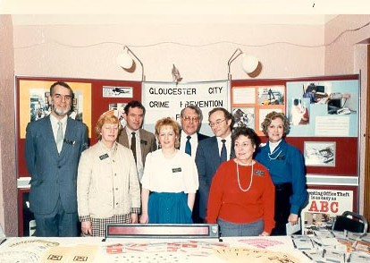 Gloucester  City Crime Prevention Panel with Police Sergeant Tony Poulter 1980s. (Gloucestershire Police Archives URN 621)