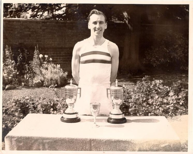 Police Constable Bryan Marshall with athletics trophies. (Gloucestershire Police Archives URN 640)
