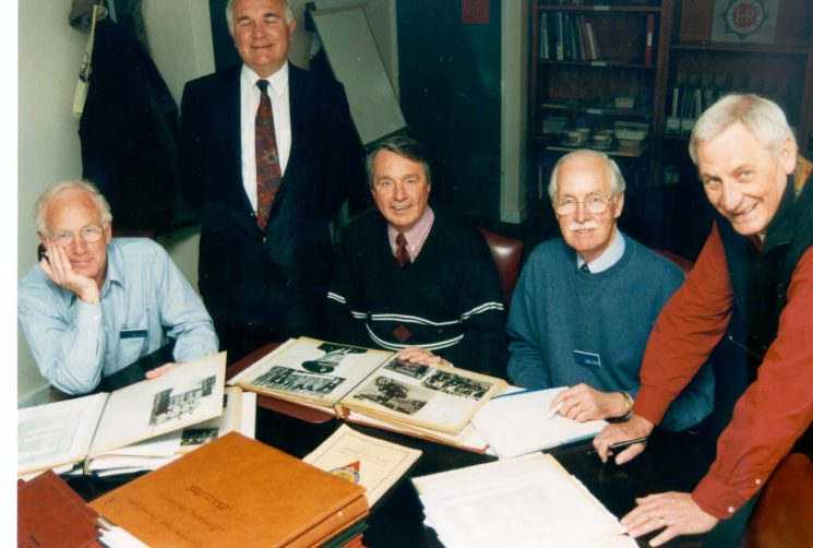 National Association Retired Police Officers Volunteers engaged in archive project of Force memorabilia and photographs. Left to right;  Alan Bobs; Jim Taylor;  Graham Murdock;  Bob Parker;  Geoff Sindrey. (Gloucestershire Police Archives URN 673)