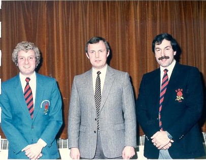 Tony Alcock (British Bowls Champion), Chief Superintendent Geoffrey Cooper and Police Constable Michael Jordan. (Gloucestershire Police Archives URN 690)