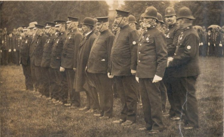 Presentation of Coronation Medals to 20 long-serving members of the Force. Ceremony at The Park Gloucester 17.8.1912. (Gloucestershire Police Archives URN 71-2)