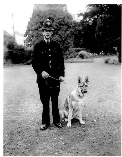 Police Constable Dave Coles  with his dog Kardow 1970s. (Gloucestershire Police Archives URN 713)