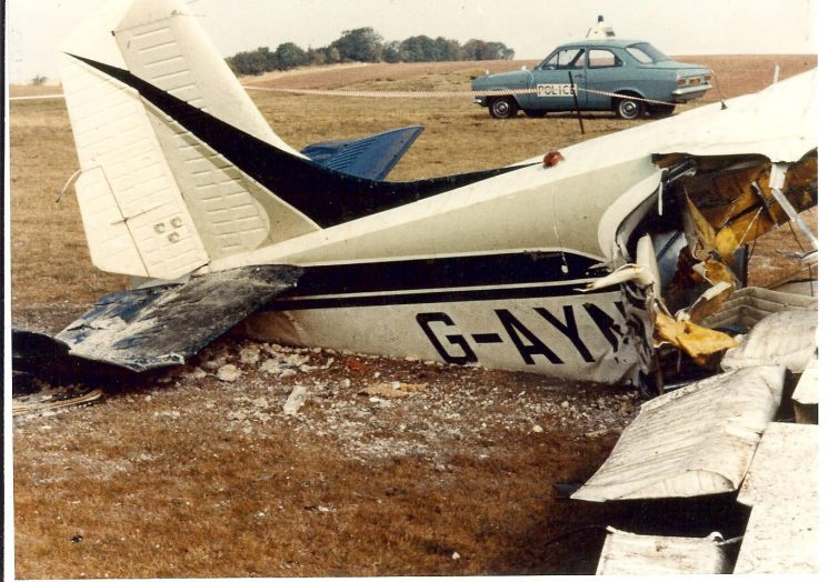 Crash of light aircraft at Ullenwood Golf Course in 1978. (Gloucestershire Police Archives URN 739)