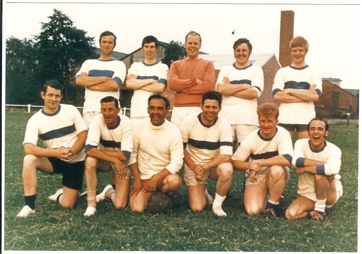 Kingswood Police football team match versus Dan Harford's Legal Garage Kingswood, Douglas Sports Ground Kingswood. Officers back row left to right: Police Constables Tony Blythe, Brian Page,  Peter Dodridge, Andy Whittle,  Gordon Hewitt. Front row left to right: Police Constables  Peter Brock,   Ken Hyett,  Ray May, Doug Hardiman,  Glynne Jones,  Roger Crouch. (Gloucestershire Police Archives URN 740)
