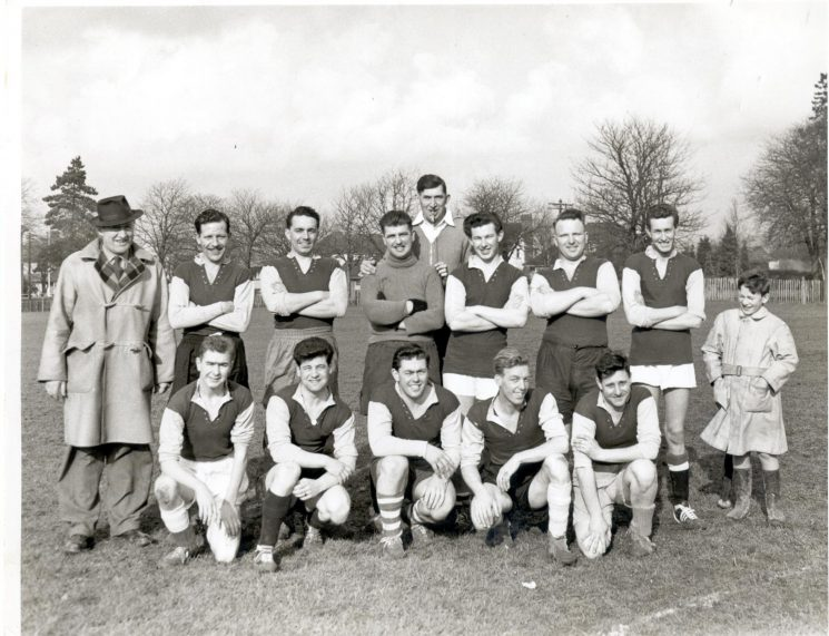 Staple Hill Division football team at Page Park Staple Hill 1960. Left to right  back row: Police Constables John Hammond; H. Hart; Detective Constable G. Murdoch;  Police Constables Ted Restall; David Avery; unknown; Derek Webb; unknown; Front row : David Thompson; Bruce Reed; Jack Cratchley;  unknown; Anthony Philpott. (Gloucestershire Police Archives URN 788)