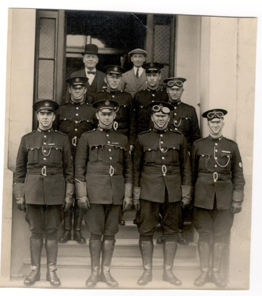 Motor Patrol Staff 1932 at the front of the original Holland House. Back Row left to right Deputy Chief Constable J.W.P. Goulder Superintendent A. Sainsbury Middle row: left to right Police Constables 'Chinny' Mills, Arthur Finch; C.A. Smith; Richard Pole Front Row: Left to right Police Constables Leonard Levell; Jack Greenall; Leonard Cox; Alvin Allsop (Gloucestershire Police Archives URN 79)