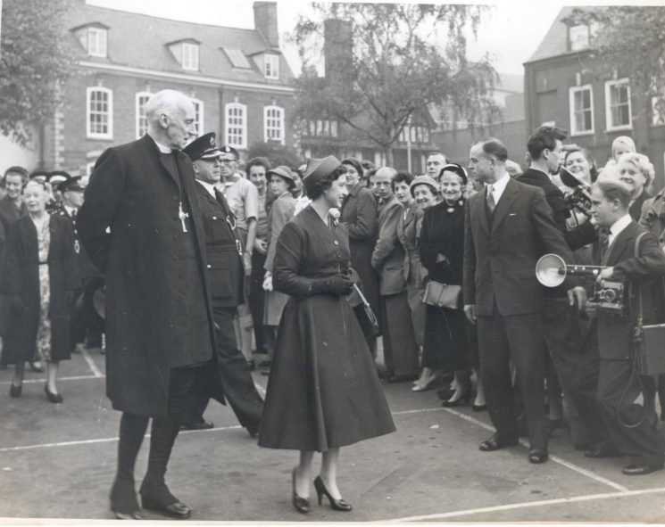 Royal visit by Princess Margaret to Gloucester Cathedral in 1958. (Gloucestershire Police Archives URN 798)