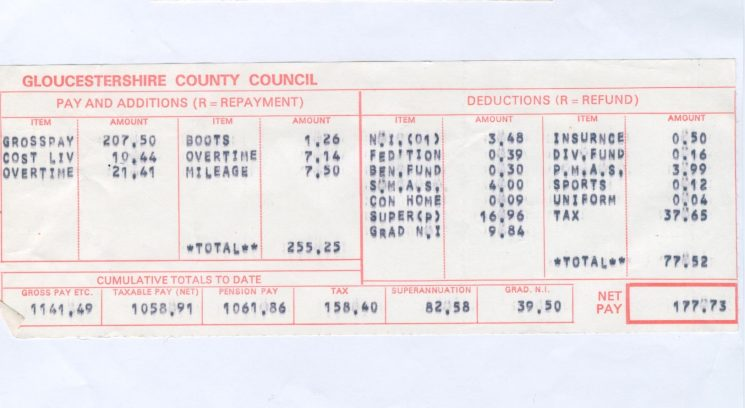 Pay slip sergeant 1974. (Gloucestershire Police Archives URN 813)