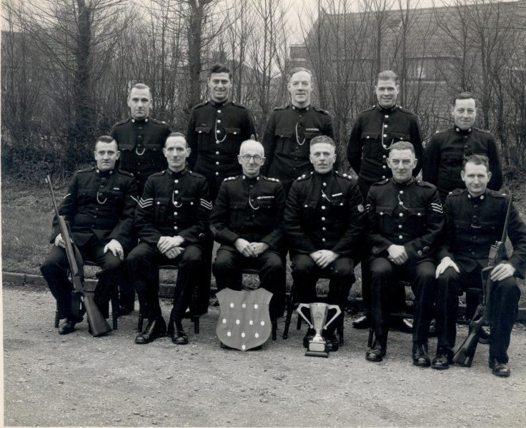 Filton Police Shooting Team 1943. Dick Parker, Police Constable E. (Ted) Day, Police Sergeant H. Tredwell, Inspector W. Hart, Special Constable Hudson, Special Inspector Hood. (Gloucestershire Police Archives URN 845)