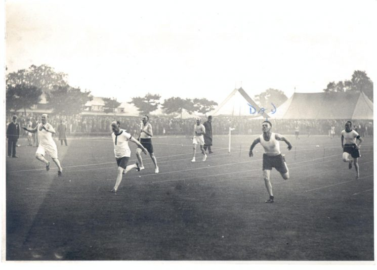 W. Hart running in 100 yards sprint final (for officers over 15 years service) 1934. (Gloucestershire Police Archives URN 895)