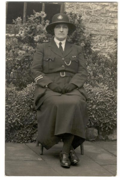 Woman Police Constable 1 Marion Elsie Sandover awarded Silver Braid for assisting a constable with a violent prisoner on 23rd June 1936. (Gloucestershire Police Archives URN 90)