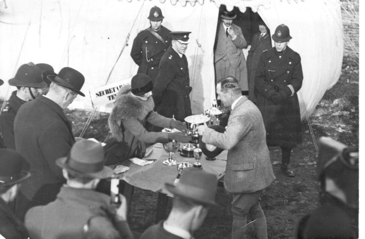 Police Officers at Cheltenham Races 1938.  Chief Superintendent J. Goulding and other officers. (Gloucestershire Police Archives URN 922)