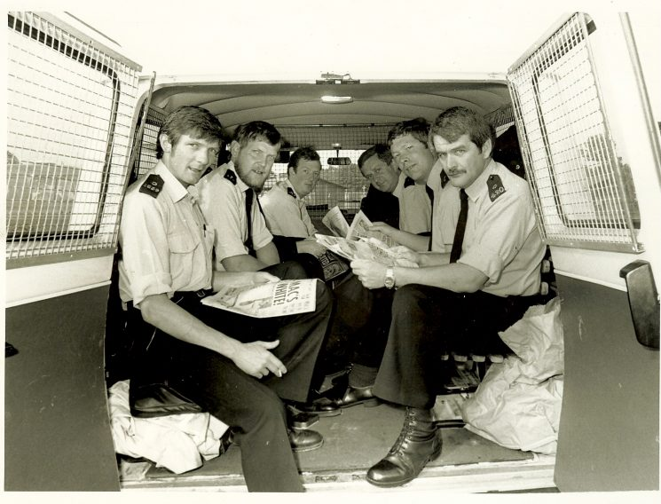 Miners Strike: Gloucestershire Police  van in Proteus Camp Ollerton Nottinghamshire. Left to right: Brian Lawrence, Les Carroll, Andy Stone, Barry Manning, Eddy Hanna, Pete Statham. (Gloucestershire Police Archives URN 928)