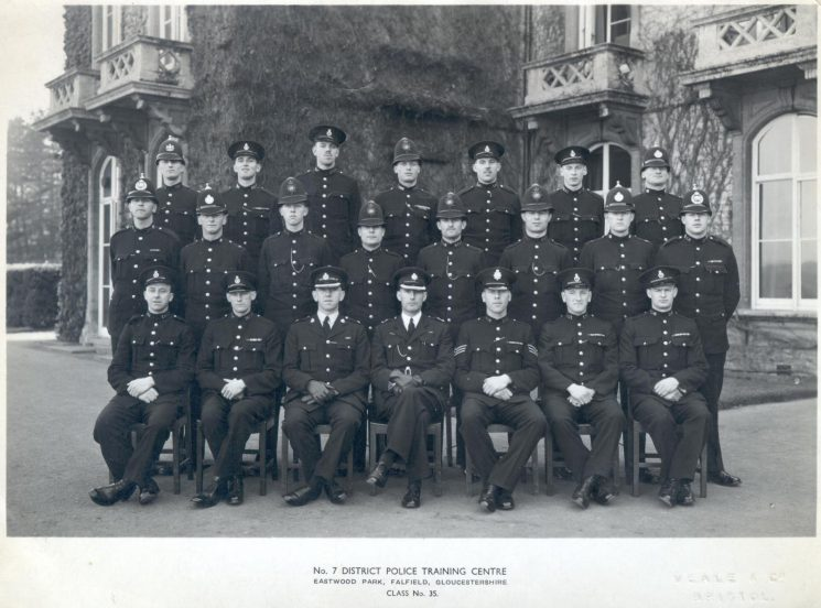 Initial course, class 35, Number Seven District Police Training Centre Eastwood Park, Falfield,  1950. Back Row left to right: fourth Police Constable K. H. J. Martin, sixth Police Constable W.A.S. (Bill) Stapleforth, Centre row left to right third Police Constable R.A. (Bob) Parker, fourth  Police Constable C. Phelps, fifth Police Constable R. Traval, sixth  Police Constable R. Niblett. (Gloucestershire Police Archives URN 954)