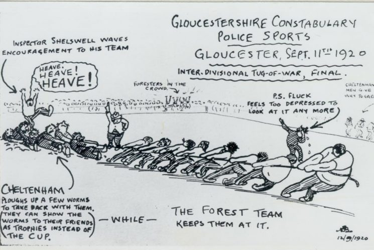 Hand-drawn cartoon of Gloucester Police Sports 11.9.1920  Cheltenham  v Forest  tug-of-war final. (Gloucestershire Police Archives URN 96)