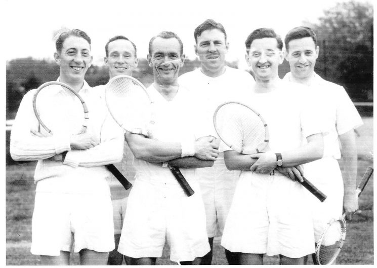 Gloucestershire Constabulary Tennis Team.  Taken at East Gloucestershire Tennis Club Cheltenham.  1950. Left to right: unknown, Detective Constable Cyril Clark, Inspector Gordon Shellswell, Police Constable W. Rowlands, Police Constable Pat Legg, Police Constable Anthony Philpott. (Gloucestershire Police Archives URN 961)