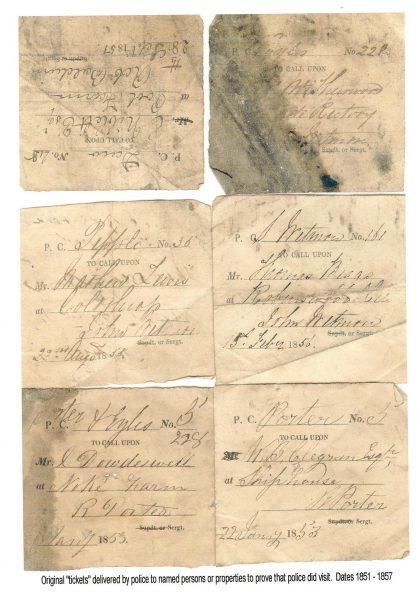 Visiting Tickets used by Police Constables when on patrol to prove that they had patrolled a particular area. The