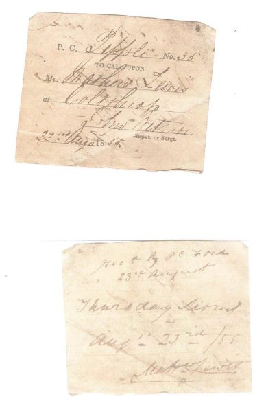 Visiting Tickets used by  Police Constables when  on patrol to prove that they had patrolled a particular area. (Gloucestershire Police Archives URN 963-3)